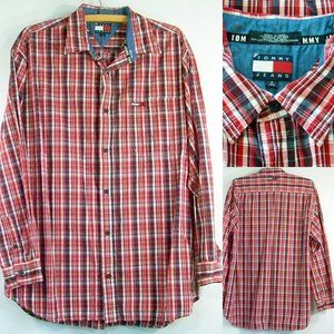 Tommy Hilfiger L Button Front Shirt Red Plaid LS